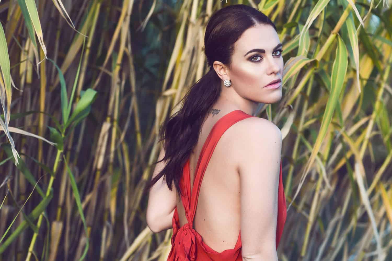Melania Dalla Costa abito rosso primo piano di Maria La Torre