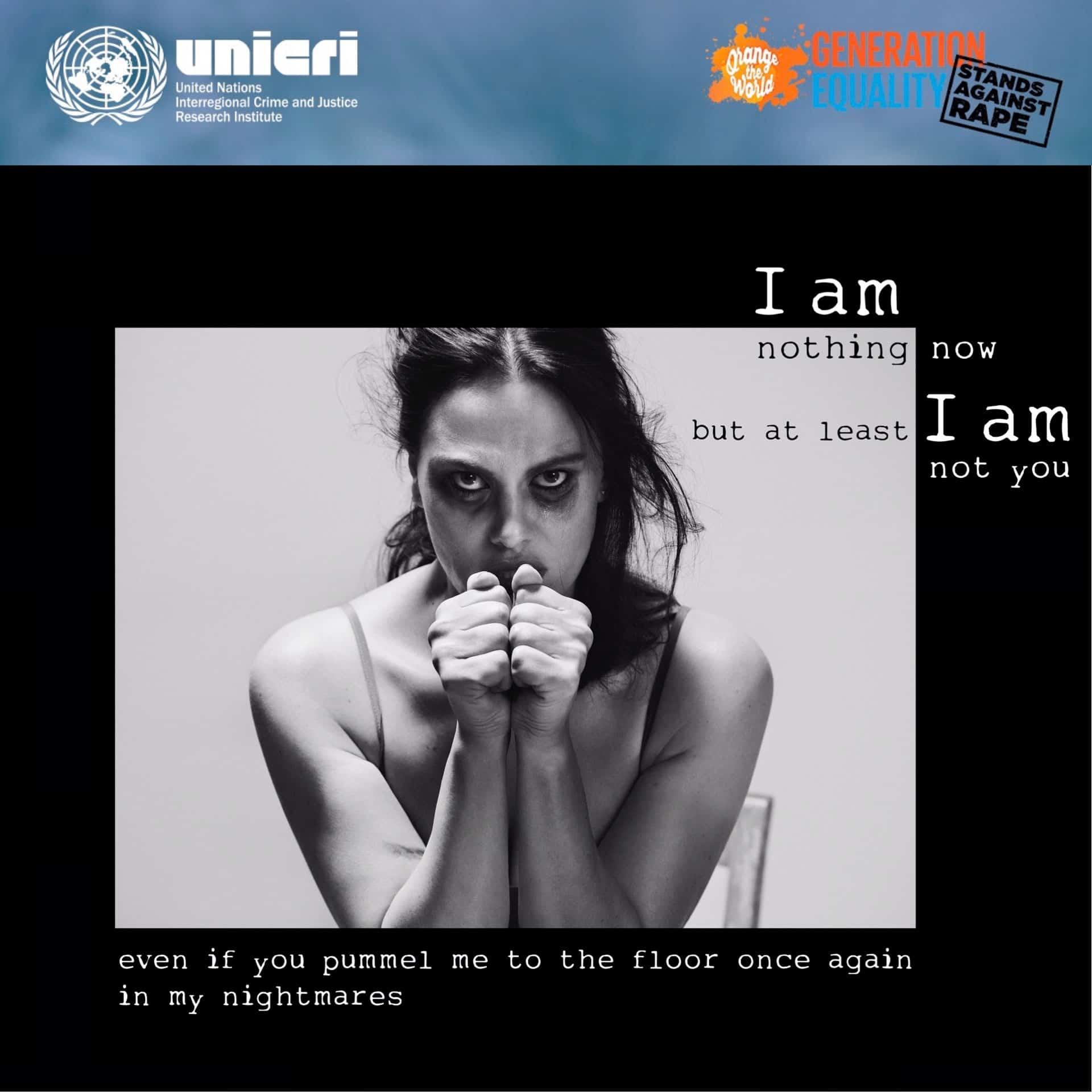 Campagna UNICRI Nazioni Unite contro la violenza sulle donne - testimonial Melania Dalla Costa
